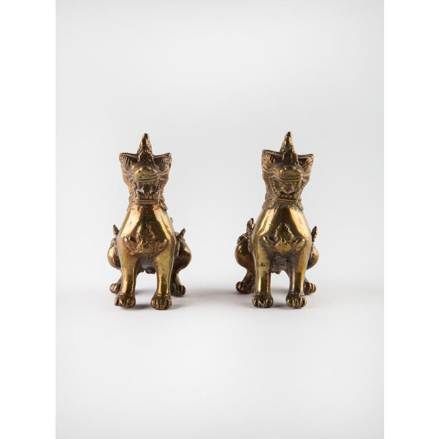 Asian Solid Brass Thai Foo Dogs For Sale - Image 3 of 9