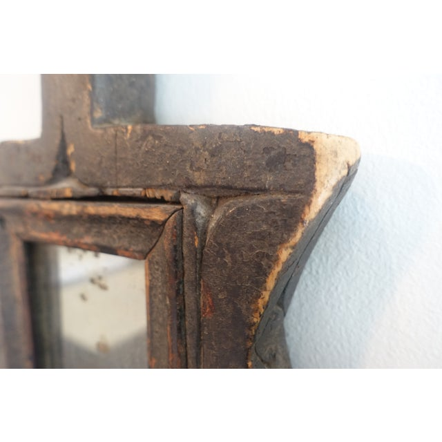 1900 - 1909 Primitive Wood Mirror For Sale - Image 5 of 13