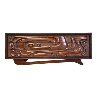 Pulaski Oceanic Sculpted Walnut Long Dresser For Sale