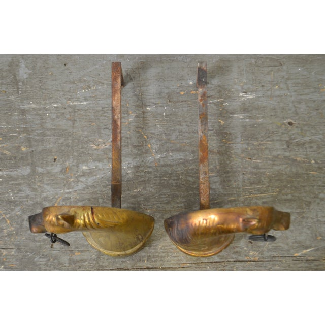 Horse Head Vintage Pair of Brass Fireplace Andirons For Sale - Image 9 of 13