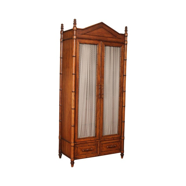 Century Faux Bamboo Bedroom Armoire Cabinet For Sale - Image 13 of 13