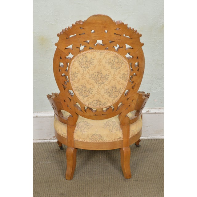 Rococo Revival Exceptional Carved Walnut Antique Victorian Bergere Chair -  Image 4 of 12 - Rococo Revival Exceptional Carved Walnut Antique Victorian Bergere