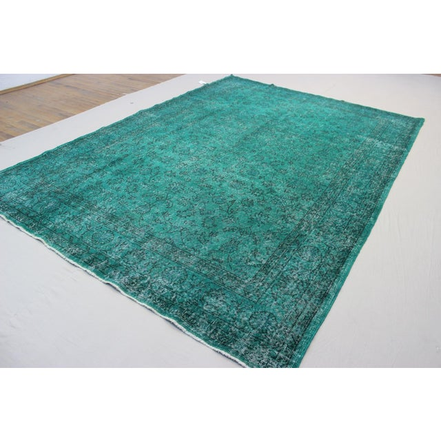 "Vintage Over-Dyed Teal Rug - 7'6"" x 10'9"" - Image 6 of 9"