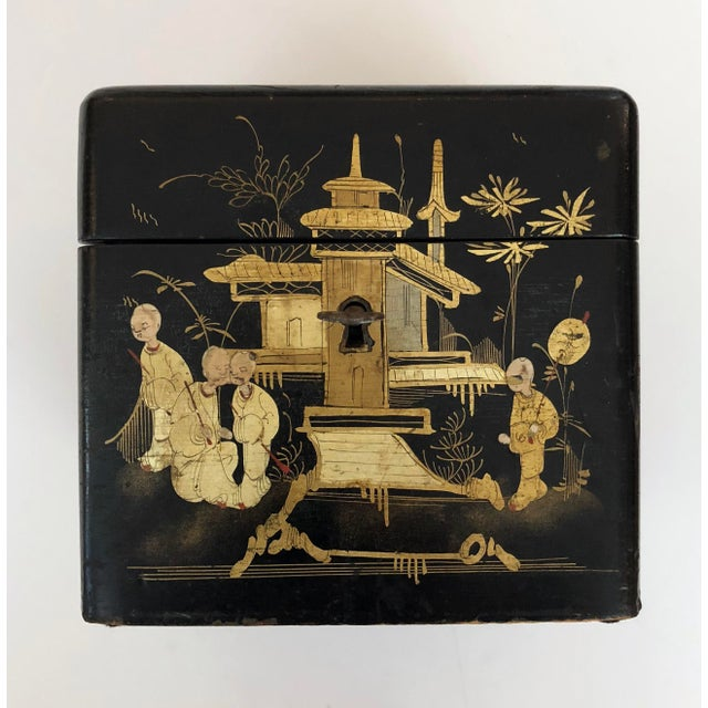 A Charming English Regency Japanned Square-Form Tea Caddy For Sale - Image 4 of 6
