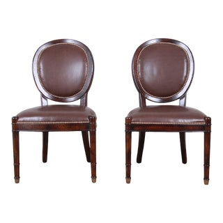 Baker Furniture Milling Road Collection Studded Leather Balloon Back Side Chairs, Pair For Sale