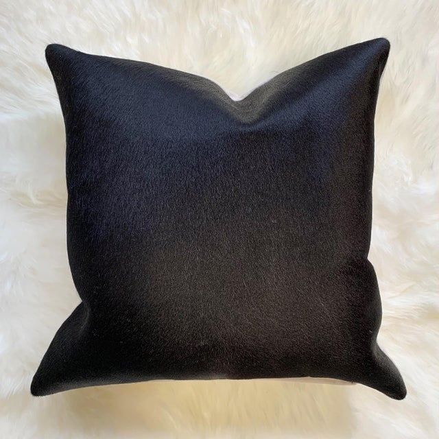 """2010s Black Cowhide Pillow 18"""" For Sale - Image 5 of 5"""