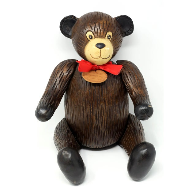 1980s Vintage Hand-Carved Wood Jointed Teddy Bear For Sale - Image 5 of 9