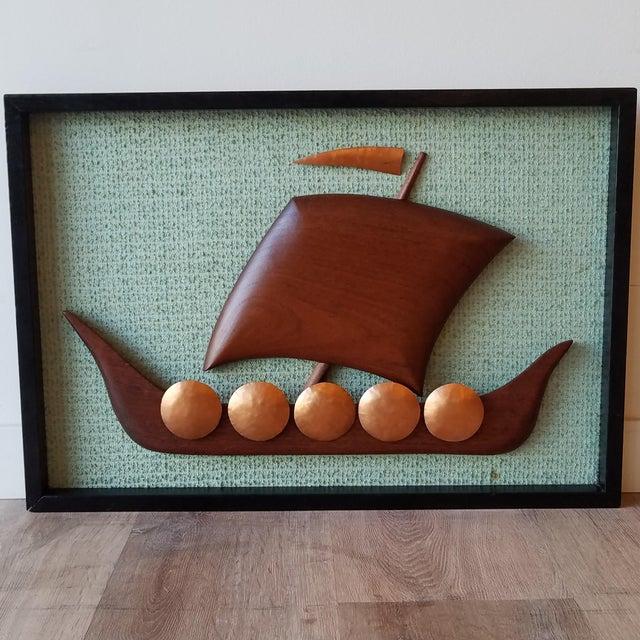 Vintage Framed Carved Viking Ship For Sale - Image 11 of 11