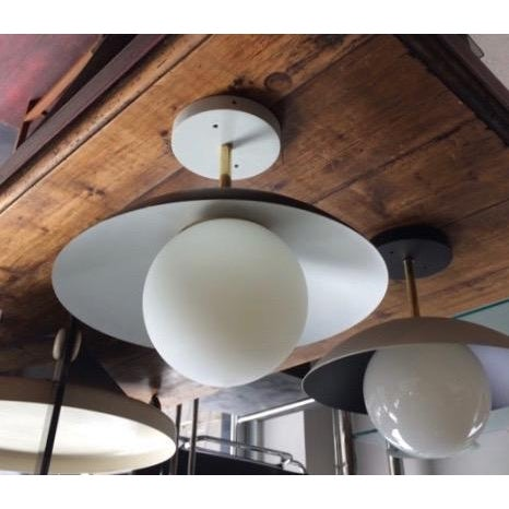 Not Yet Made - Made To Order Sasco Brass and Glass Globe Semi-Flush Mount Pendant Light For Sale - Image 5 of 9