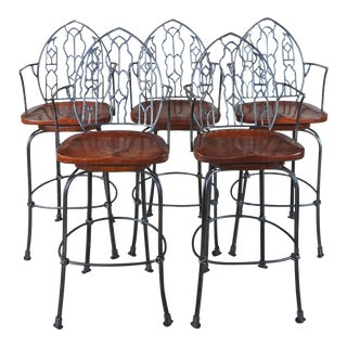 Hand Forged Iron & Mahogany Gothic Spanish Revival Swivel Bar Stools - Set of 5 For Sale
