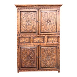 Spanish Colonial Marquetry Armoire For Sale