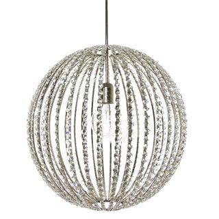 """Design Chandelier - 10"""" Nickel & Crystal Globe For Sale"""