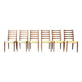 Teak Ladder Back Chairs With Danish Cording by Svegards Markaryd - Set of 6 For Sale