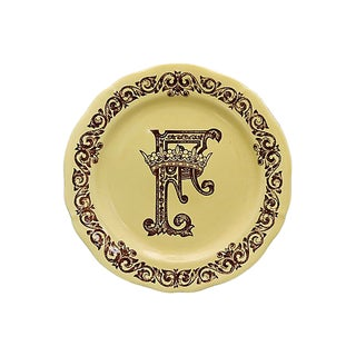 French Gien Plate F Monogram & Crown For Sale