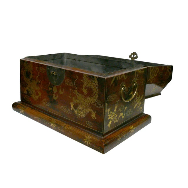 Chinese Light Brown Lacquer Golden Dragons Box - Image 5 of 5