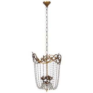 French Empire Chandelier With Gilt Iron and Cascading Beads