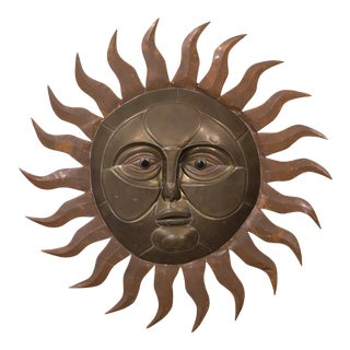 A Sergio Bustamante Brass and Copper Sun Wall Sculpture 1970s For Sale