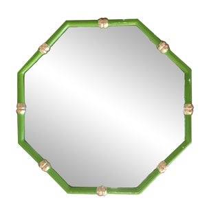 Bamboo Mirror in Green, Octo Style For Sale