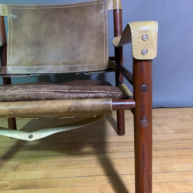 "Arne Norell ""Sirocco"" Leather Safari Chair Sweden For Sale - Image 10 of 12"