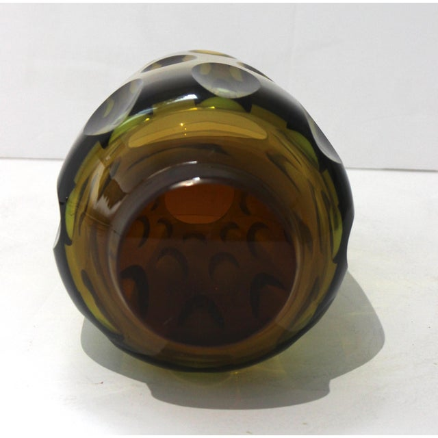 Mid-Century Modern Swedish Vase With Optic Ovals - Smokey Olive Green For Sale - Image 9 of 12