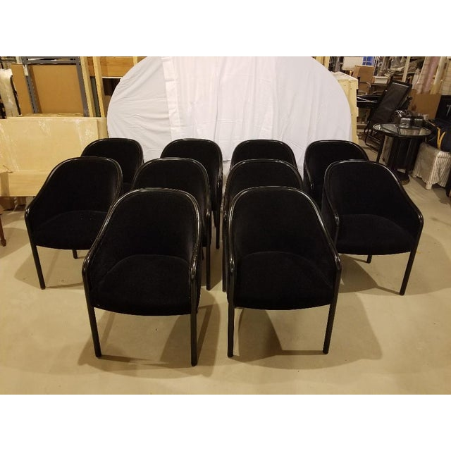 1980s Vintage Ward Bennett for Brickel Associates Walnut & Velvet Mohair Chairs - Set of 10 For Sale - Image 13 of 13