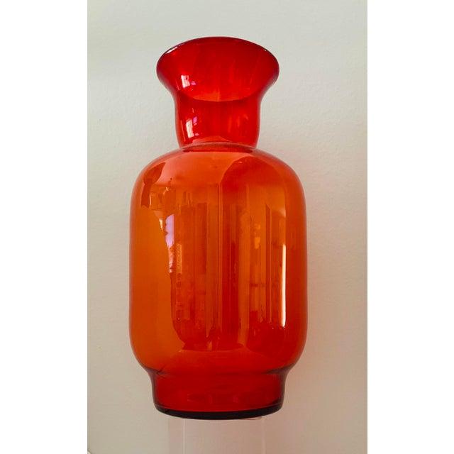 Blenko Tangerine Orange Floor Vase Scarce Oversized - # 7048 For Sale - Image 13 of 13