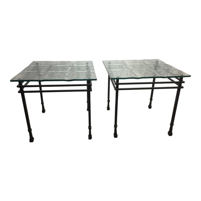 Charleston Forge Custom Glass/Iron End Tables - a Pair For Sale