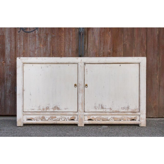 Antique White Farmhouse Rustic Asian Cabinet For Sale - Image 10 of 11
