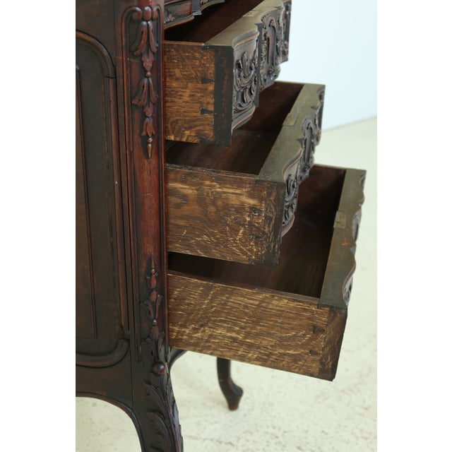 Wood Vintage French Louis XV Marble Top Walnut Chest For Sale - Image 7 of 13