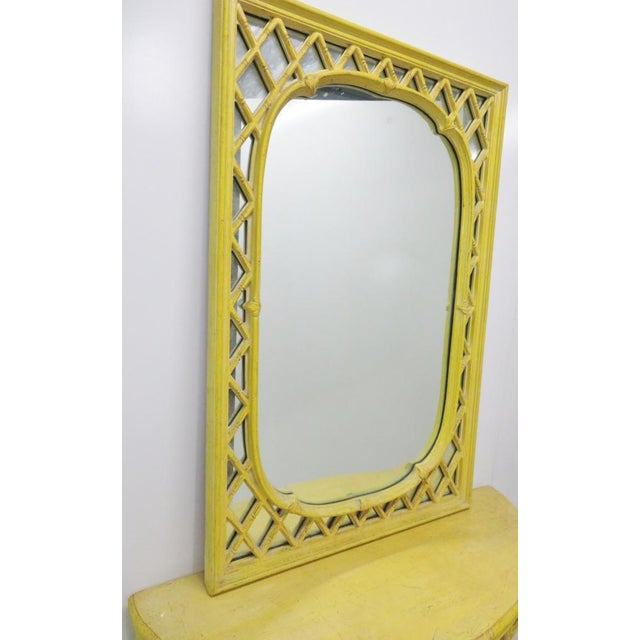 Chinoiserie Yellow Console Table & Mirror - Image 4 of 8