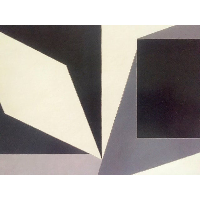 """Paper Vintage Victor Vasarely Op Art Modernist Geometric Lithograph Print """" Homage to Malevich """" 1953 For Sale - Image 7 of 12"""