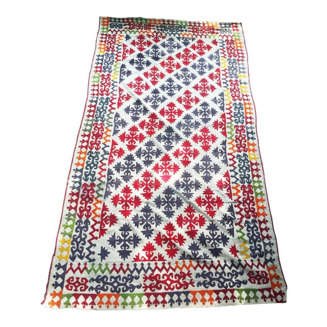 1950s Boho Chic Embroidered Kilim With Pop Colors For Sale