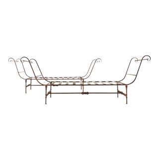 Neoclassical Style Iron Garden Daybed Benches For Sale