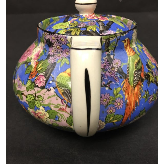 Crown Ducal Crown Ducal Ware Chintz Blue Teapot 1920 For Sale - Image 4 of 8