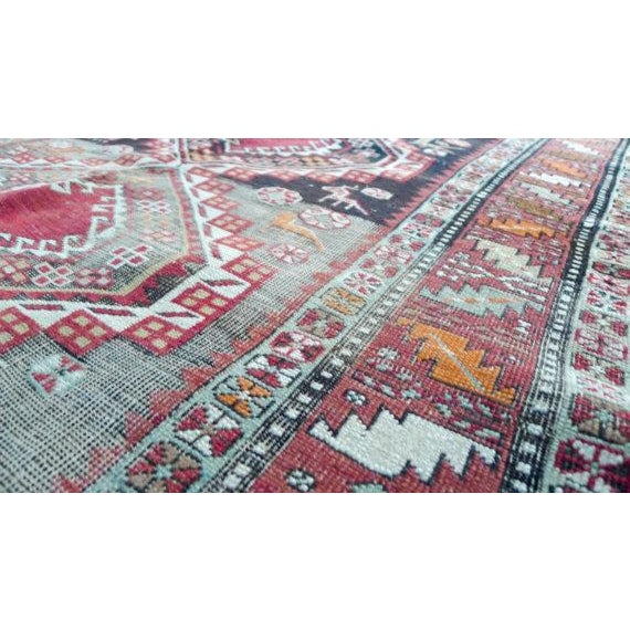 Antique Worn Geometric Tribal Rug - 3′6″ × 5′10″ - Image 4 of 6