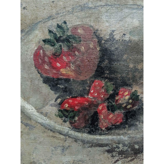 1970's Oil Still Life Painting of Strawberries, Signed by Artist Masterson and Dated 1972 For Sale - Image 4 of 6