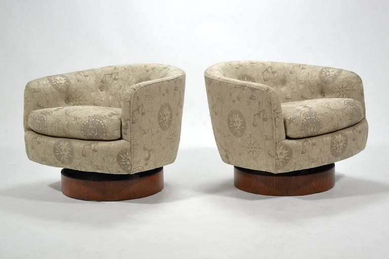 Milo Baughman Barrel Back Chairs By Directional   Image 3 Of 10
