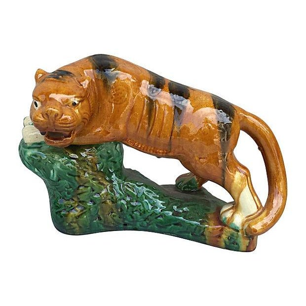 Glazed Terracotta Tigers - A Pair For Sale - Image 4 of 7