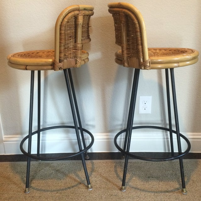 Vintage Seng of Chicago Wicker & Iron Stools - A Pair For Sale - Image 5 of 7