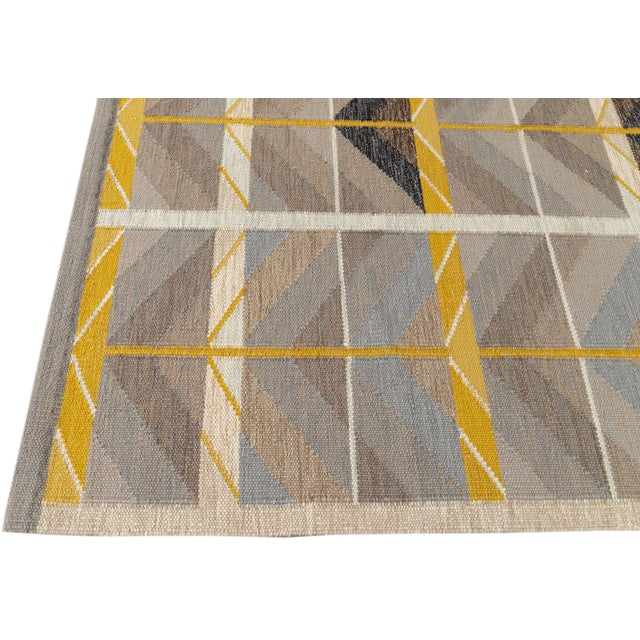 2010s 21st Century Modern Scandinavian Style Flat-Weave Rug For Sale - Image 5 of 12