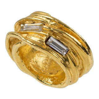 Christian Lacroix Paris Gold Plate Cocktail Ring Crystal Rhinestone Size 5.25 For Sale