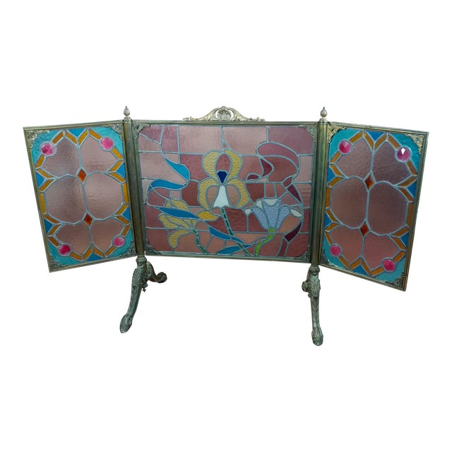 Gorgeous Art Nouveau Bronze & Stained Glass Fireplace screen For Sale