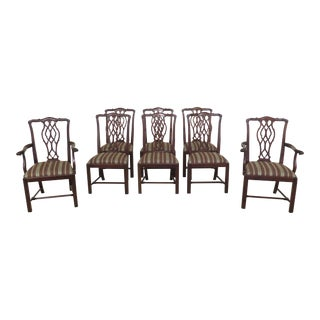 1990s Vintage Hickory Chair Co Mahogany Chippendale Dining Chairs- Set of 8 For Sale