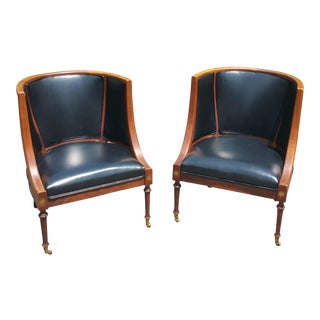 1960s Mid-Century Modern Black Vinyl and Walnut Side Chairs - a Pair