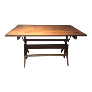 1930's Sir William Hamilton Cast Iron Wood Top Drafting Table For Sale