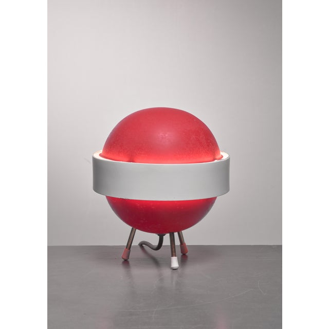 Stilux Red and white Stilux table lamp, Italy, 1950s For Sale - Image 4 of 4