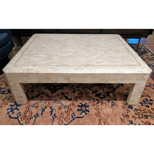 Maitland Smith Tesselated Marble (Coral) Coffee Table For Sale - Image 10 of 10