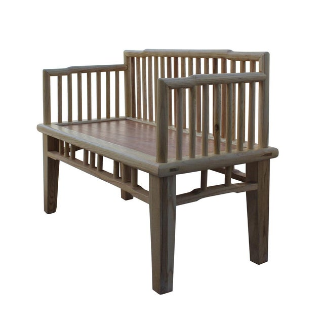 Zen Unfinished Wood Double Seat Bench - Image 5 of 6