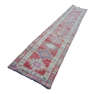 1970s Vintage Turkish Oushak Runner Rug - 2′5″ × 13′10″ For Sale