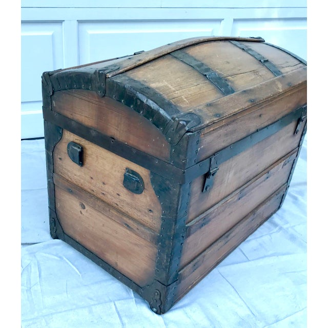 1850's Gothic Rounded Top Wooden Trunk For Sale In Los Angeles - Image 6 of 8